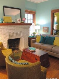 Living Room Terracotta + Teal Design, Pictures, Remodel