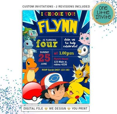 Pokemon Birthday Invitation   Pokemon Birthday   Pokemon I