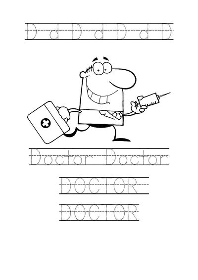 Tracing word Doctor worksheet Doctor coloring page for pres
