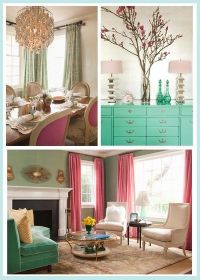 Turquoise Pink Living Room