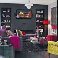 Bold decadence living room with purple, charcoal, read and ...