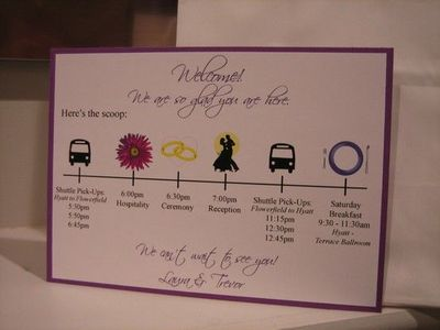 Wedding Welcome Card for the hotel welcome bags / wedding ideas