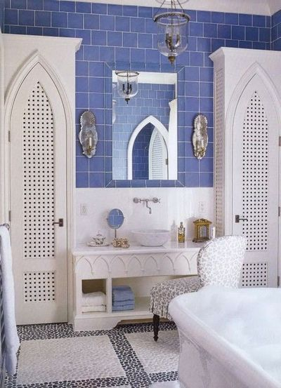 Moroccan Inspired Bathroom Cobalt Blue Tile With White Int Bath Ideas Juxtapost
