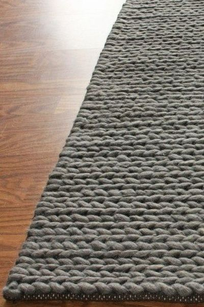Rug Sweater Chunky Thick Cable Wool Rug Grey Knits And