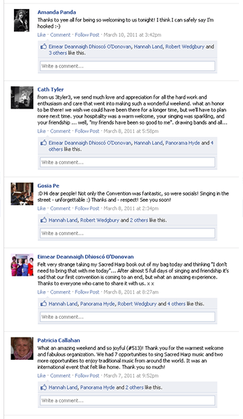 Facebook posts reflecting on the first Ireland Sacred Harp Convention. Accessed March 1, 2012.