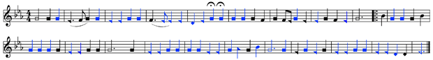 """Alto part for """"The Last Words of Copernicus,"""" as rearranged by J. L. White for his The Sacred Harp: Fifth Edition, 1909. Blue notes are identical to those identical to the notes Floyd wrote for the """"Cooper book."""" Black notes are original to White's version."""