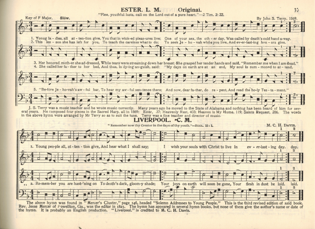 """""""Ester"""" and """"Liverpool,"""" page 37 in Original Sacred Harp: Denson Revision, 1936."""