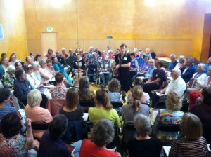 Cath Tyler leads at a Sacred Harp singing in Utrecth, The Netherlands, August 30, 2015. Photograph by Jesse P. Karlsberg.