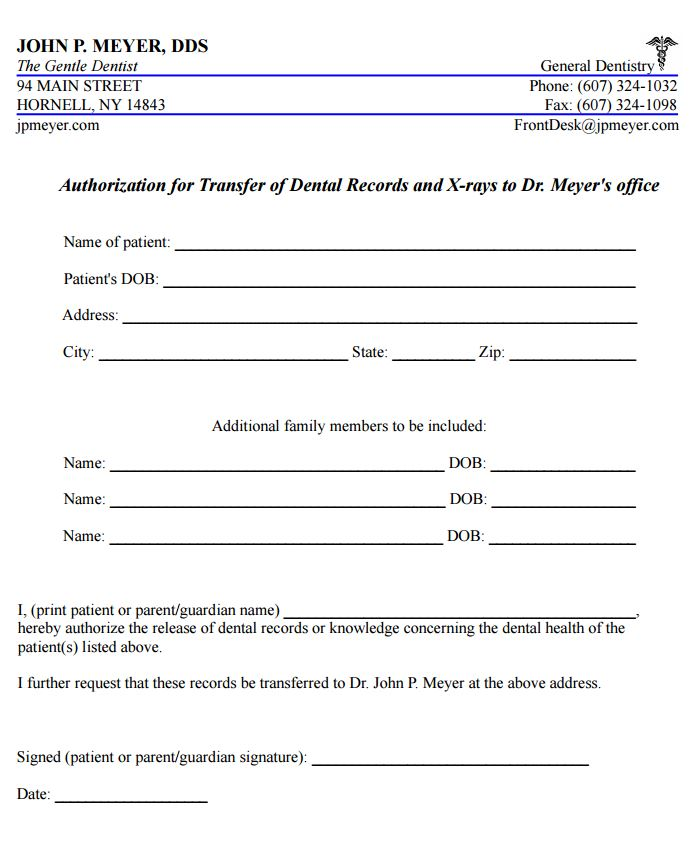 dental release form - Teacheng