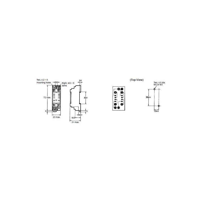 Relay socket pyf08a omron 8 pin din rail for my-2 my2nj hh52p h3y-2