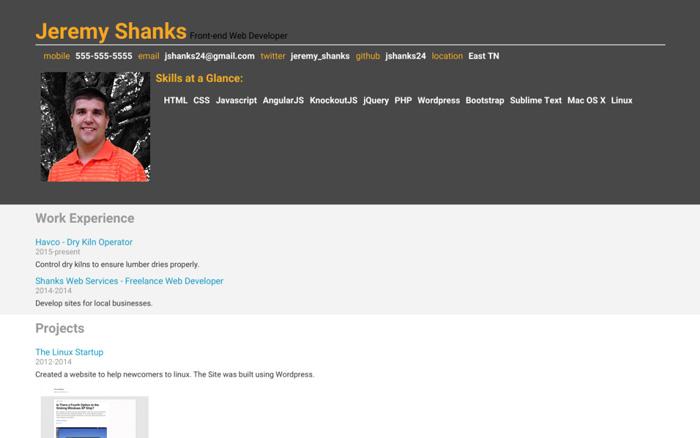 Udacity Portfolio Site by Jeremy Shanks - resume site