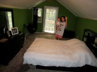 Mia and our room with furniture... Wow!