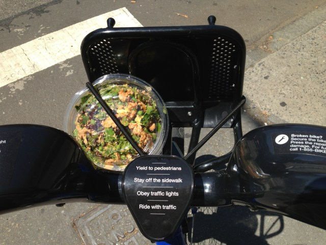 With Citi Bike, I'm a stereotype on wheels. I can transport my $11 salad on a Citi Bike.