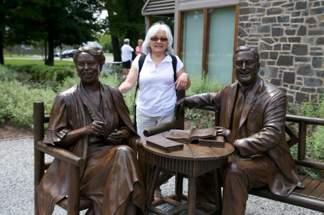 My mother with Eleanor and Franklin at the FDR Presidential Museum and Library in Hyde Park on Hudson.