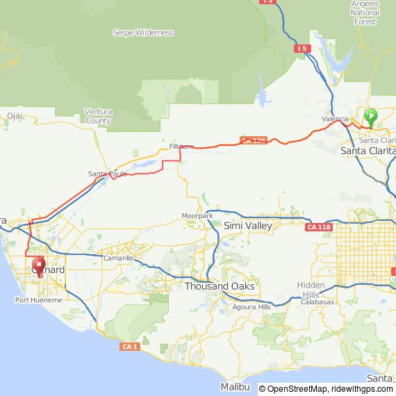 Santa Clarita to Oxnard via Santa Paula