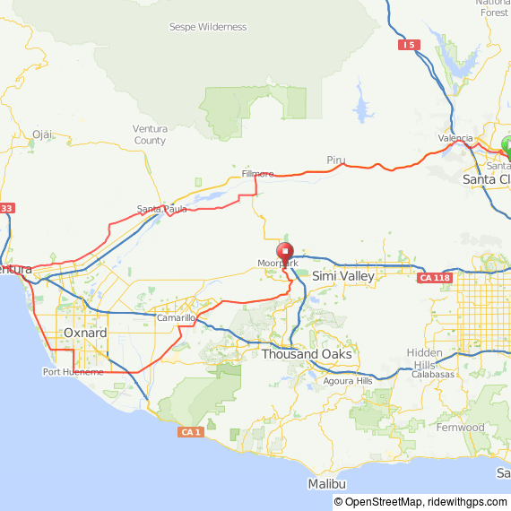 Map: Santa Clarita to Moorpark