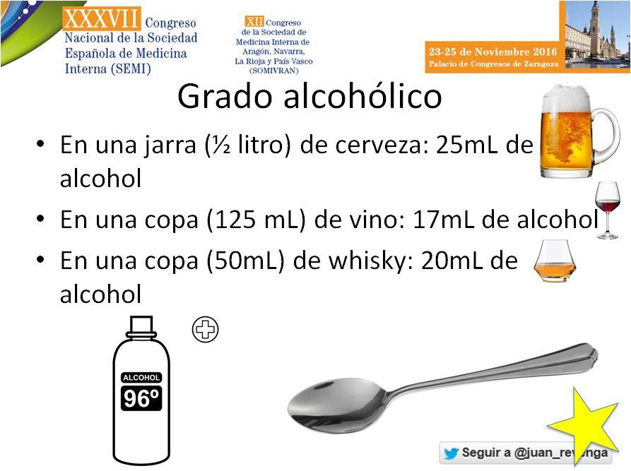 Una jarra de cerveza = 2,5 cucharadas de alcohol etílico. Y así suma y sigue