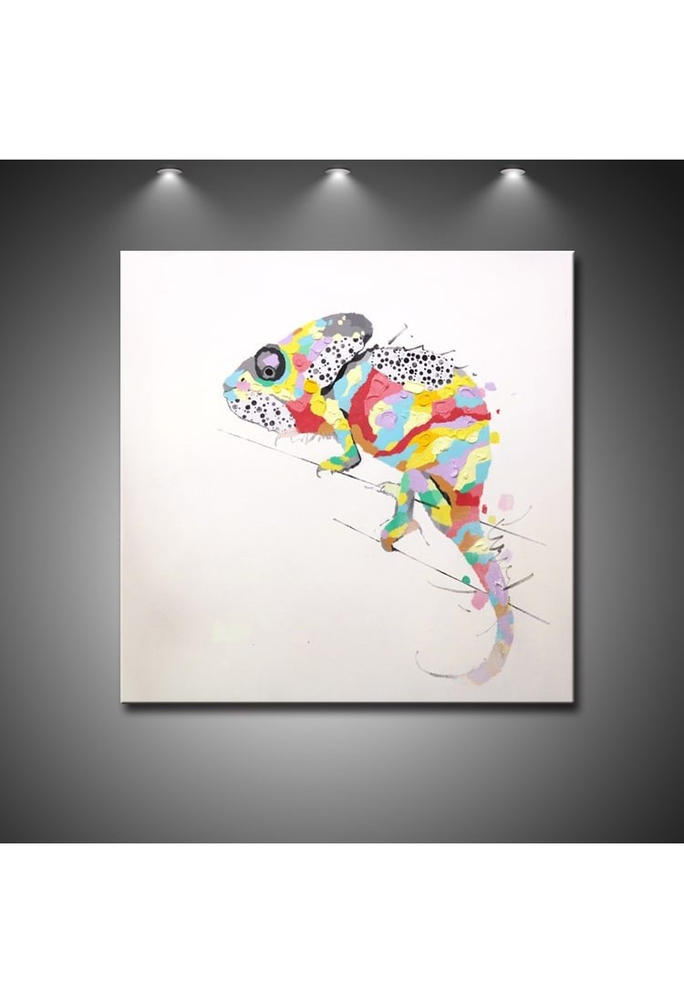 Modern Art Painting Colorful Chameleon Handmade Abstract Art Modern Oil Painting