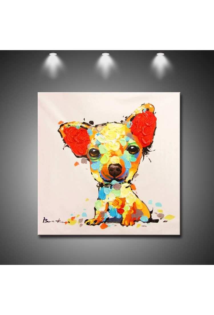 Modern Art Painting Cute Little Dog Hand Painted Modern Home Decor Wall Art Oil Painting