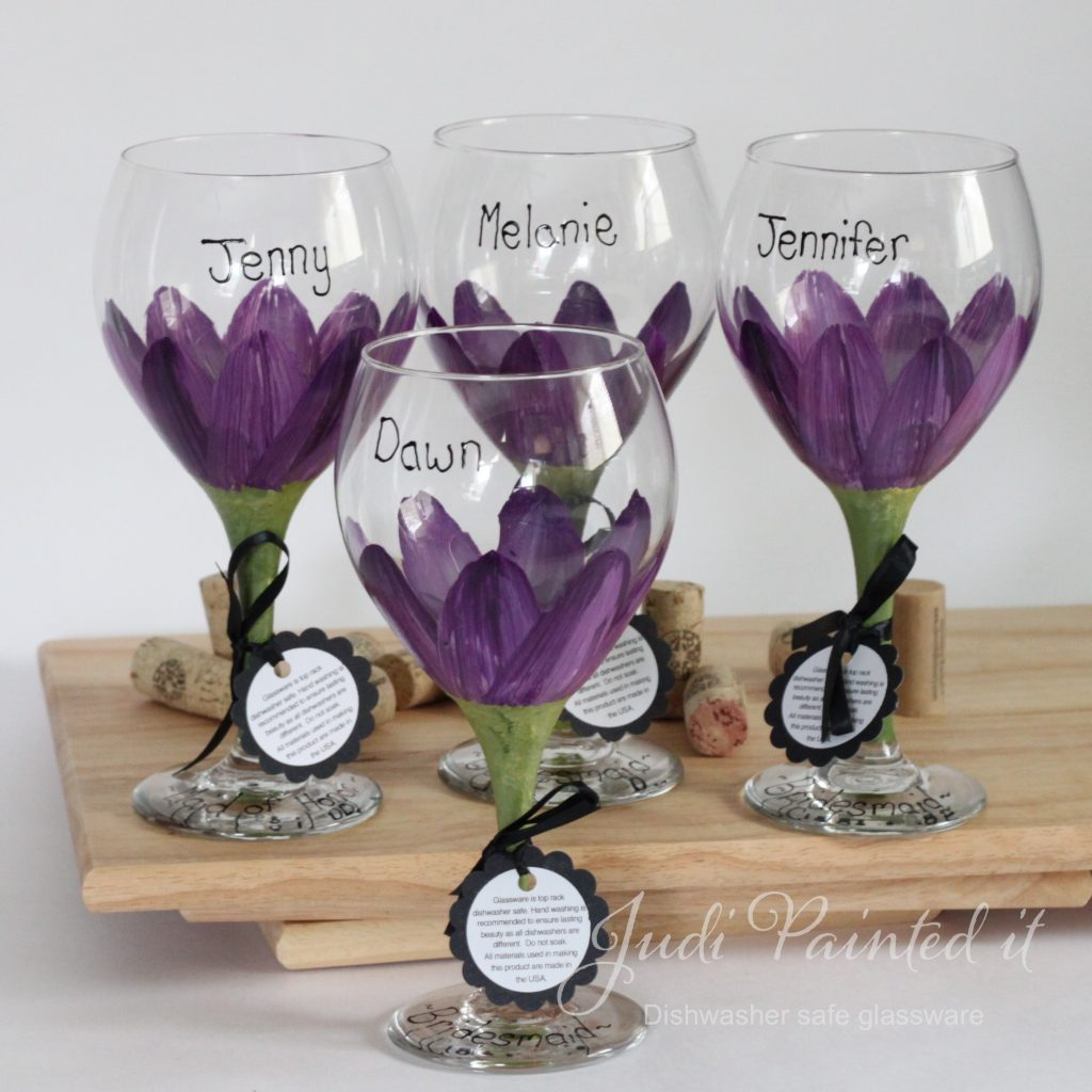 Hand Painted Wine Glasses Wholesale Red Violet Purple Daisy Wine Glass Hand Painted By Judi