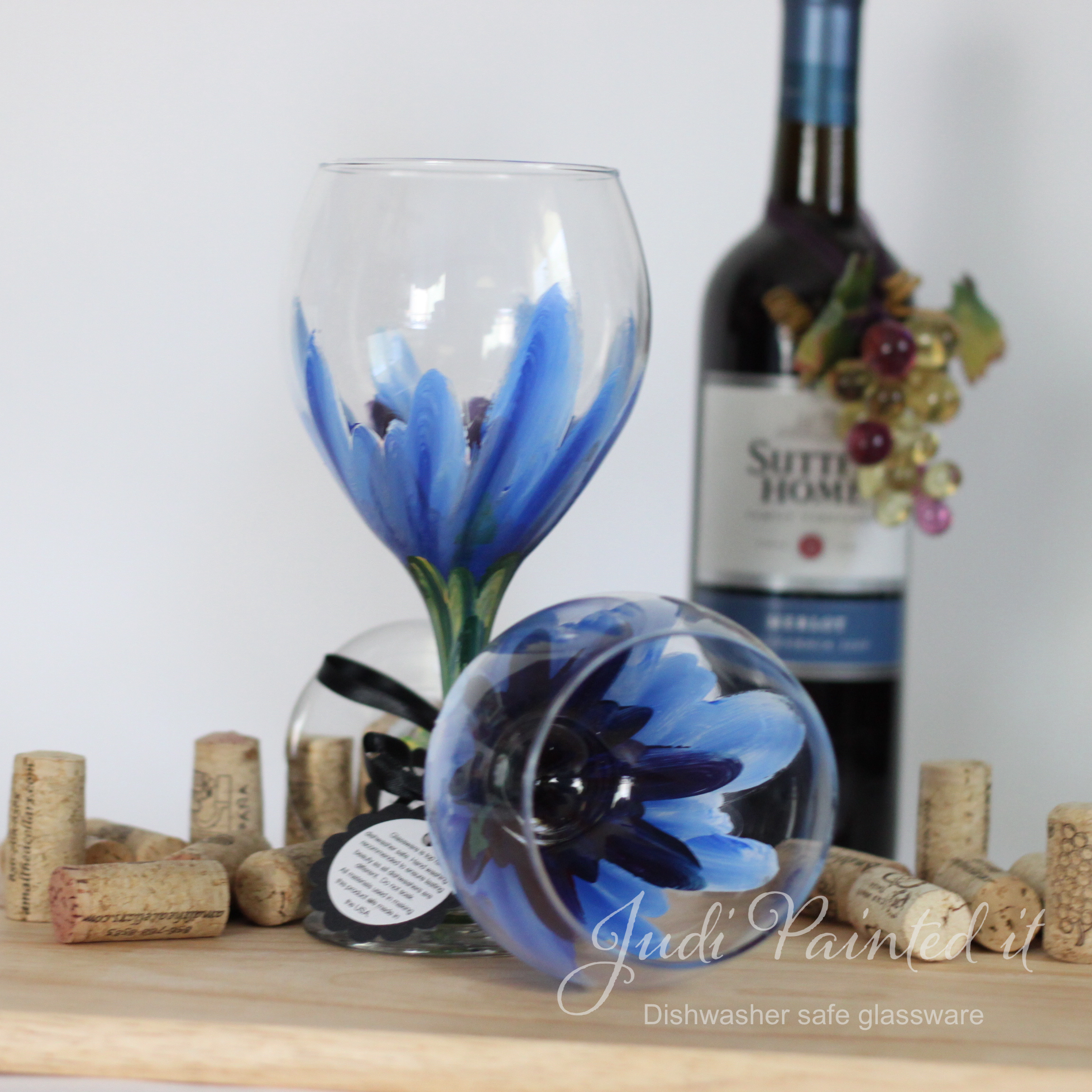 Hand Painted Wine Glasses Wholesale Blue Hibiscus Wine Glass Hand Painted By Judi Painted It