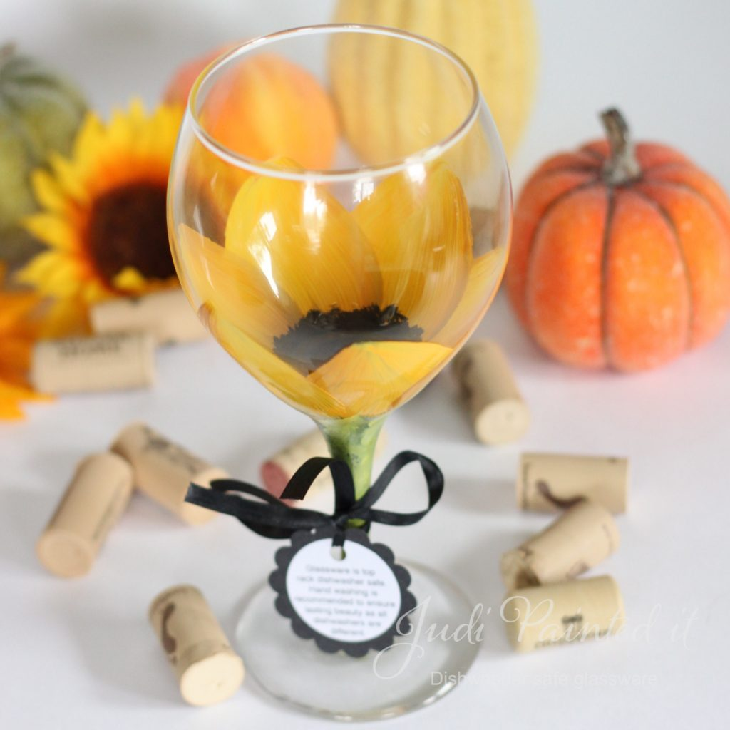 Hand Painted Wine Glasses Wholesale Sunflower Wine Glass Hand Painted By Judi Painted It 1