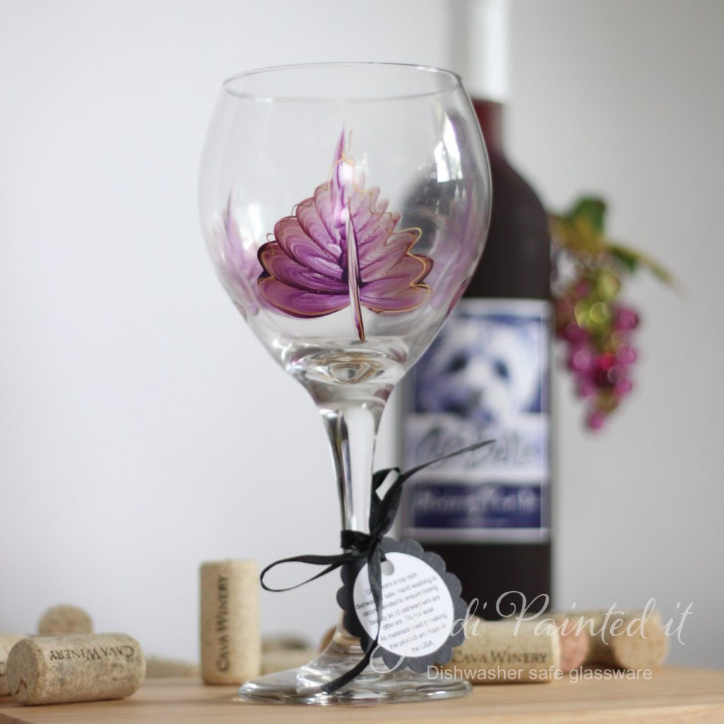 Hand Painted Wine Glasses Wholesale Red Violet Leaf Wine Glass Hand Painted By Judi Painted It