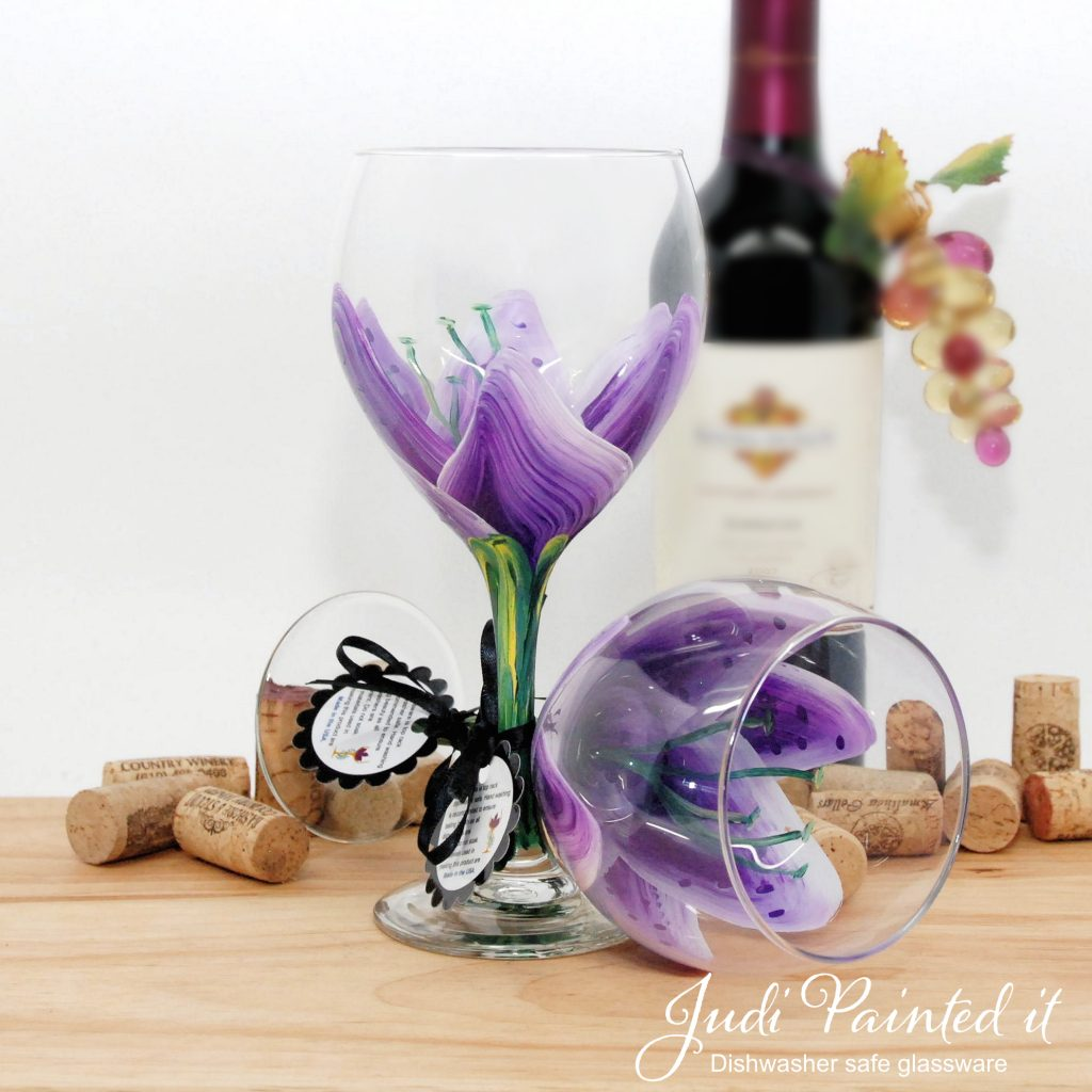 Hand Painted Wine Glasses Wholesale Violet Pansy Purple Stargazer Wine Glass Hand Painted