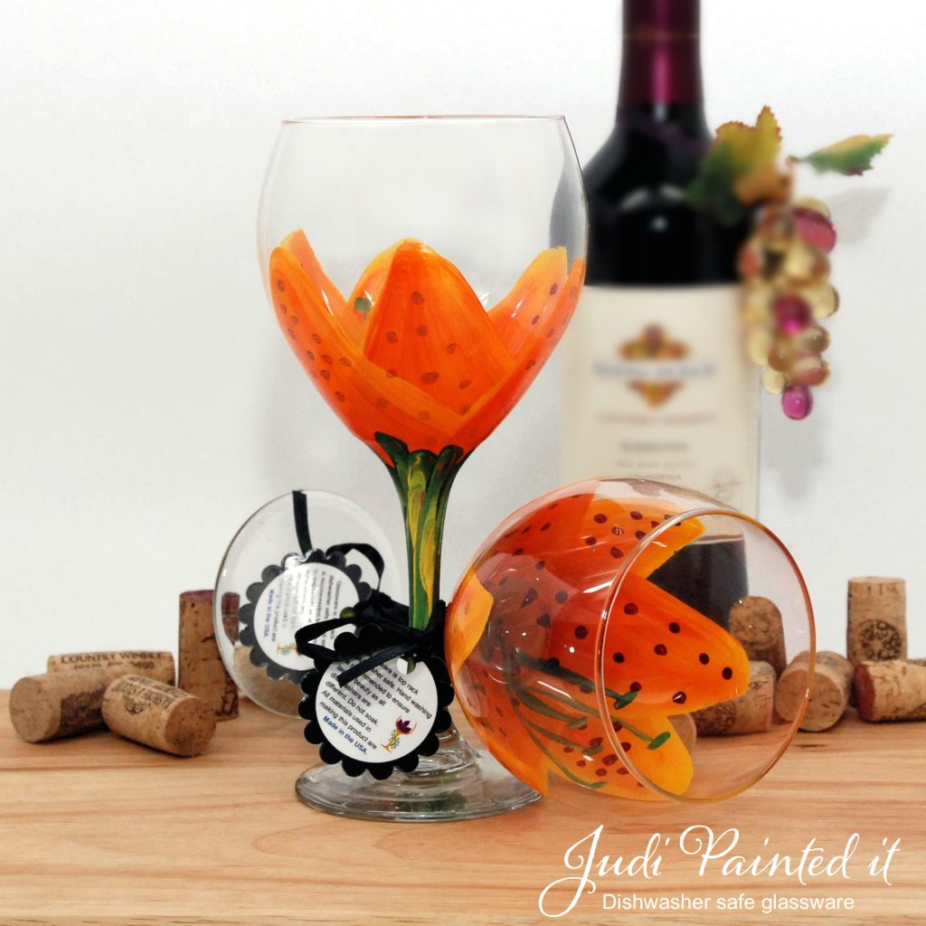 Hand Painted Wine Glasses Wholesale Tiger Lilly Orange Stargazer Wine Glass Hand Painted