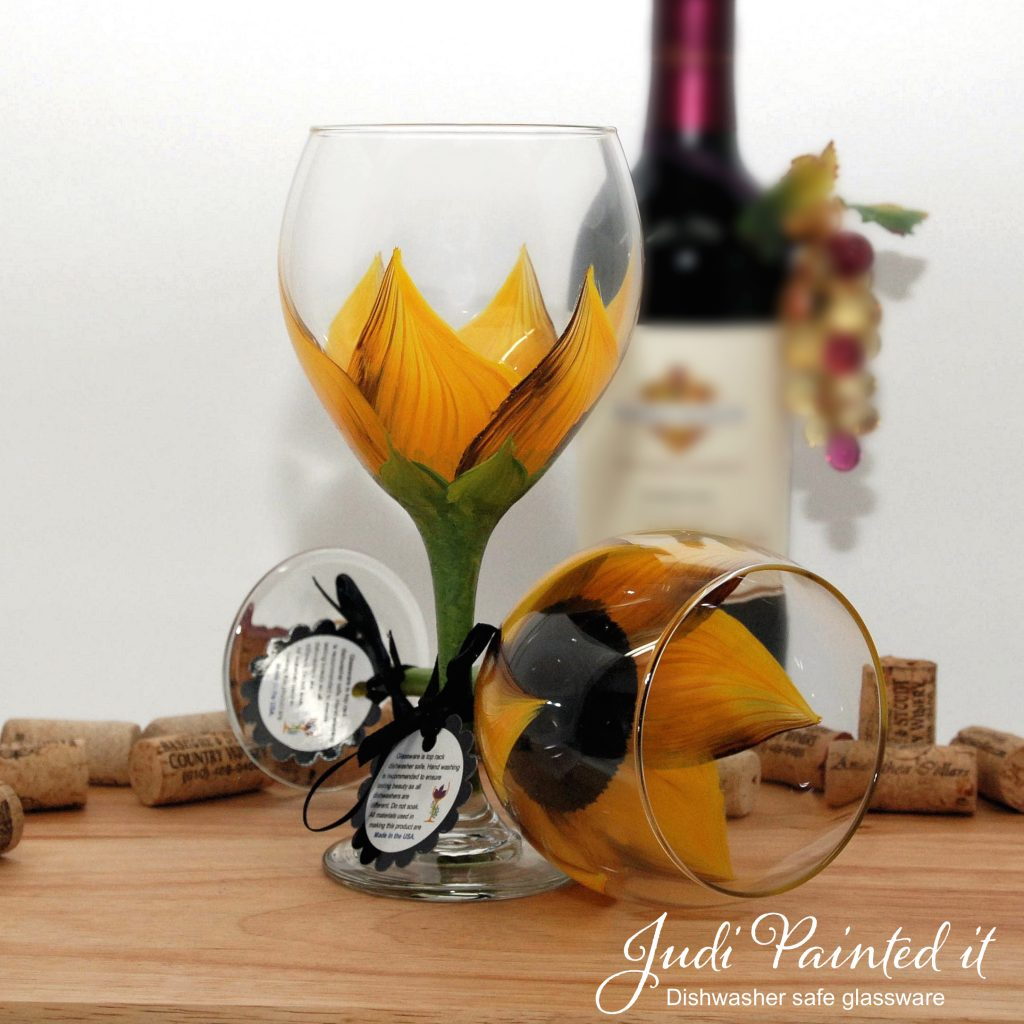 Hand Painted Wine Glasses Wholesale Autumn Red Sunflower Wine Glass Hand Painted By Judi