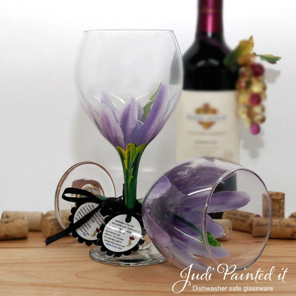 Hand Painted Wine Glasses Wholesale Lilac Purple Hibiscus Wine Glass Hand Painted By Judi