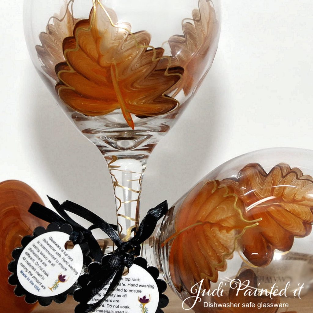Hand Painted Wine Glasses Wholesale Pure Orange Leaf Wine Glass Hand Painted By Judi Painted It