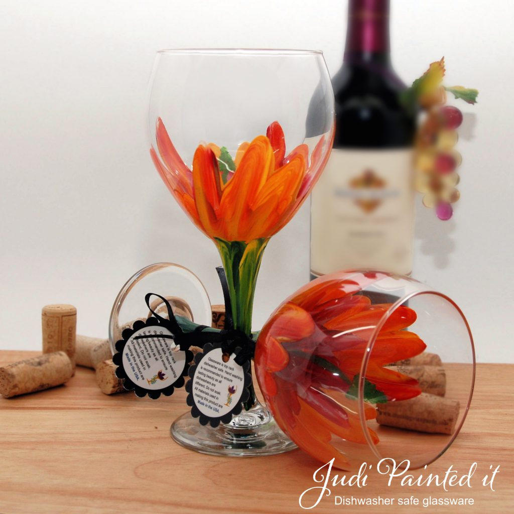 Hand Painted Wine Glasses Wholesale Red And Yellow Hibiscus Wine Glass Hand Painted By Judi