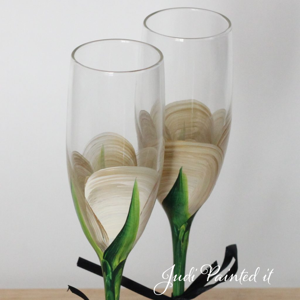 Hand Painted Wine Glasses Wholesale Champagne Flutes In A Gold Rose Bud Design By Judi Painted It