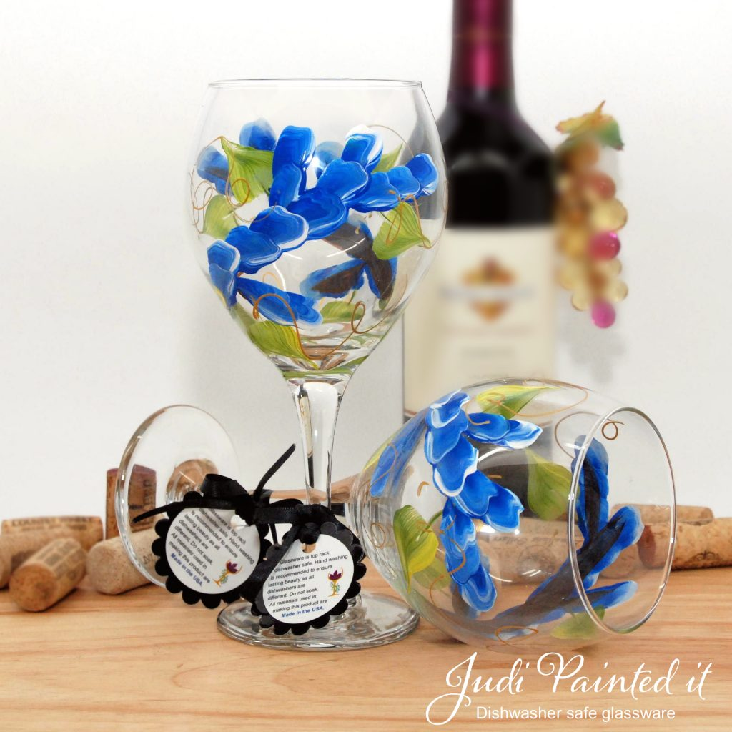 Hand Painted Wine Glasses Wholesale True Blue Wrap Around Wine Glass Hand Painted By Judi