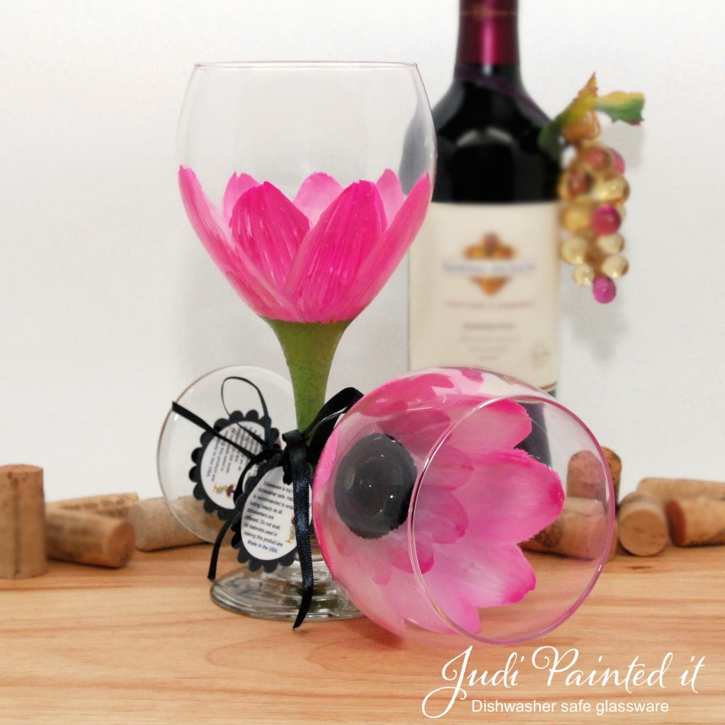 Hand Painted Wine Glasses Wholesale Parisian Pink Daisy Wine Glass Hand Painted By Judi