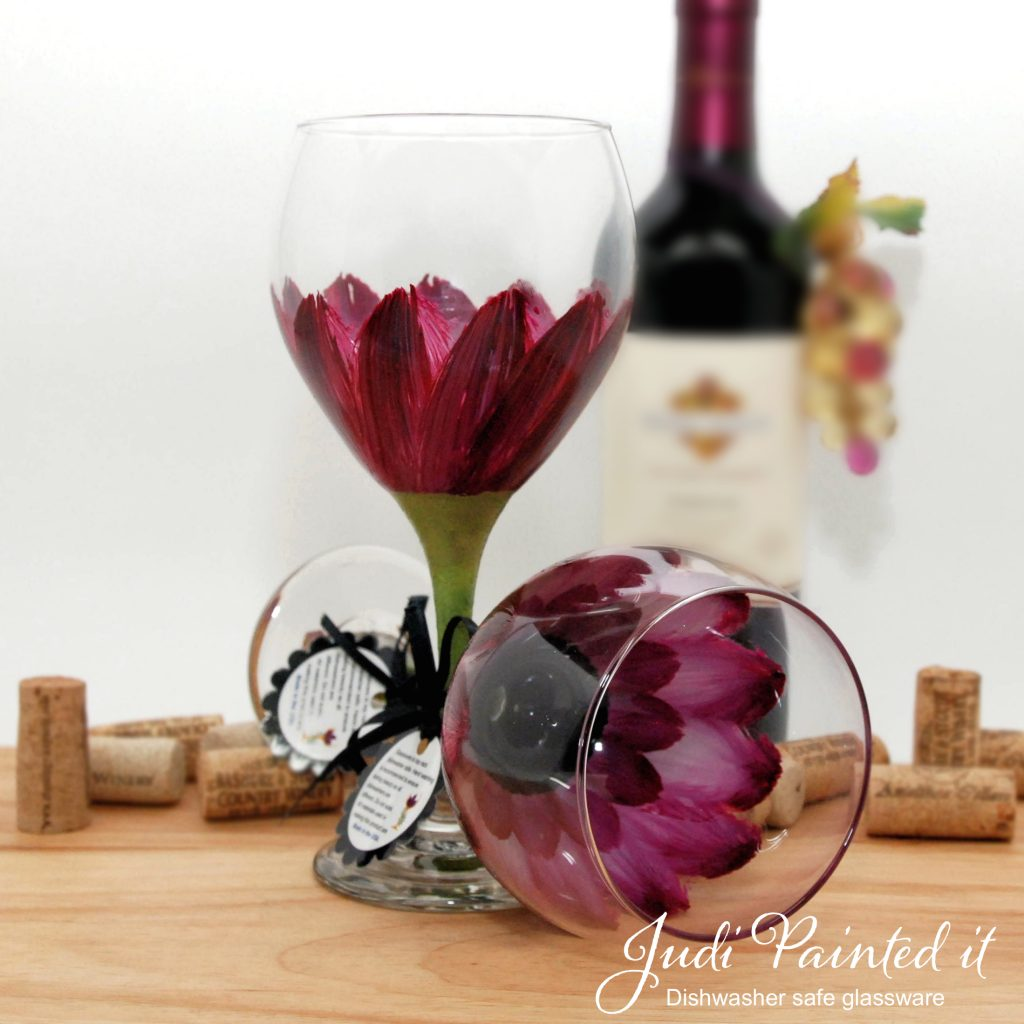 Hand Painted Wine Glasses Wholesale Berry Wine Daisy Wine Glass Hand Painted By Judi Painted It