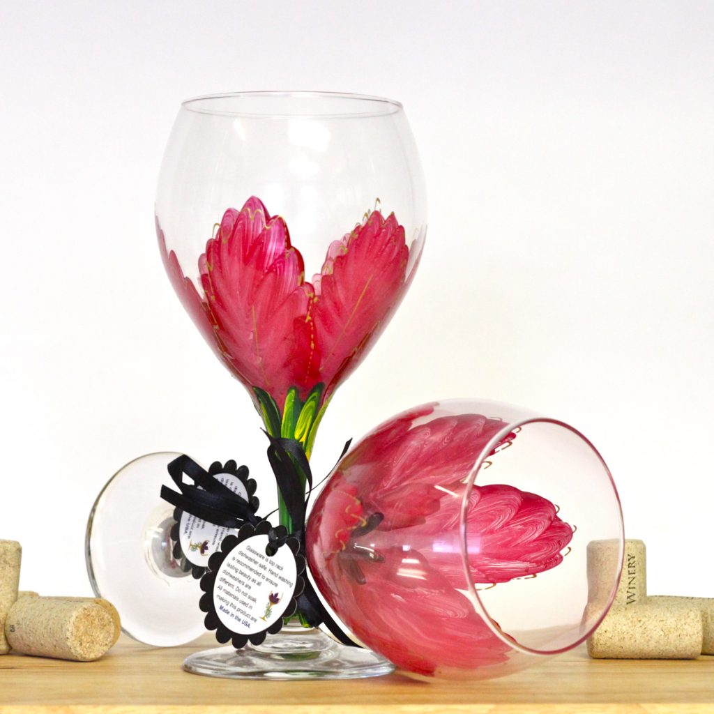 Hand Painted Wine Glasses Wholesale Red Poinsettia Wine Glass