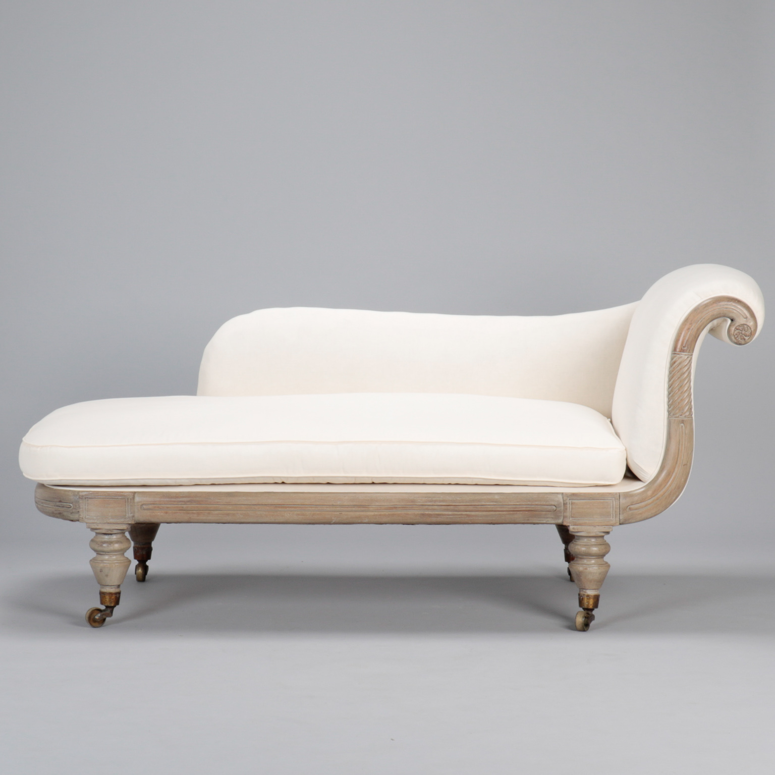 French Chaise French Chaise Lounge With Bleached Wood Frame Item 7742