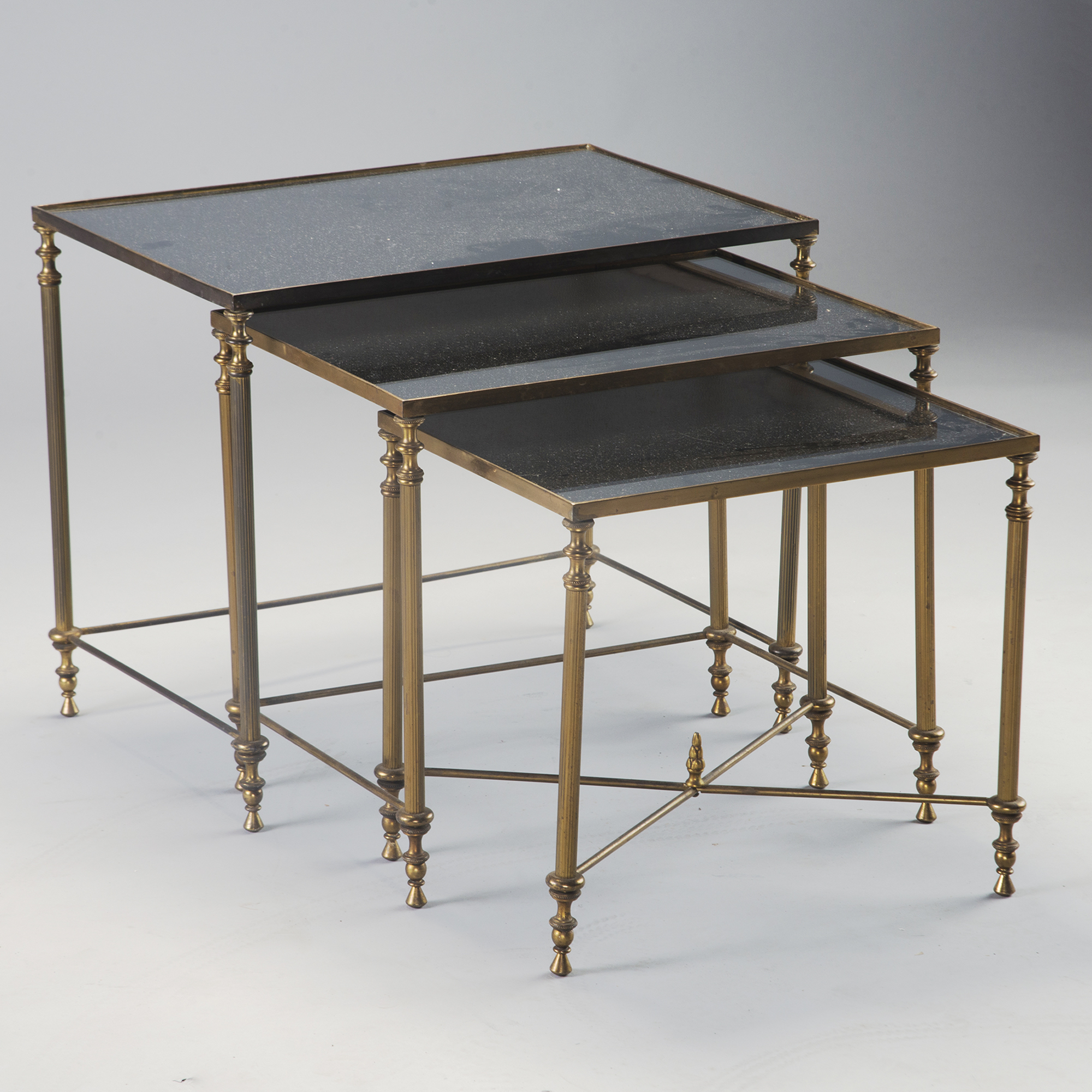 Glass Nesting Tables Trio Of Brass And Black Mirrored Glass Nesting Tables