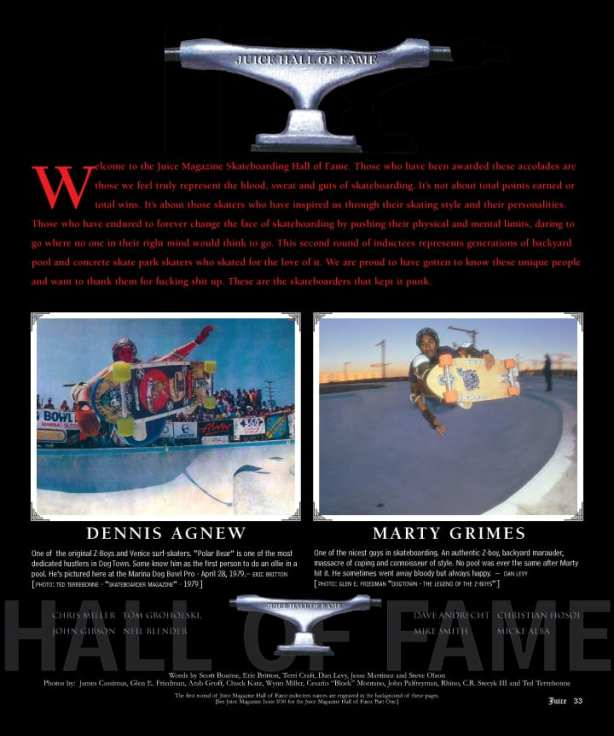 Juice Magazine Skateboarding Hall of Fame 2