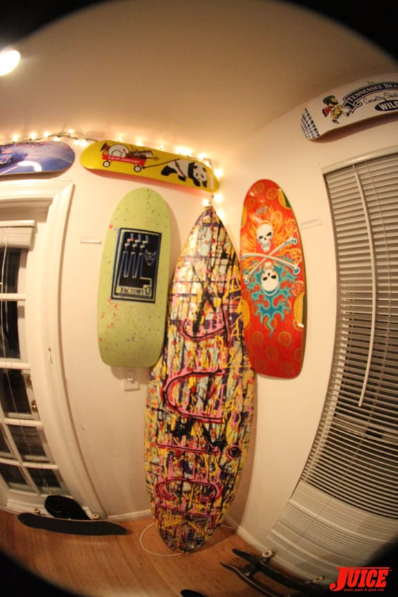Factory 13 and Bulldog Skates Decks and a custom surfboard by Abraham
