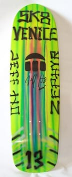 JEFF HO ZEPHYR PRODUCTIONS HAND-PAINTED SKATEBOARD - GREEN - SK8 VENICE