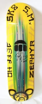 JEFF HO ZEPHYR PRODUCTIONS HAND-PAINTED SKATEBOARD - YELLOW - SK8 S.M.
