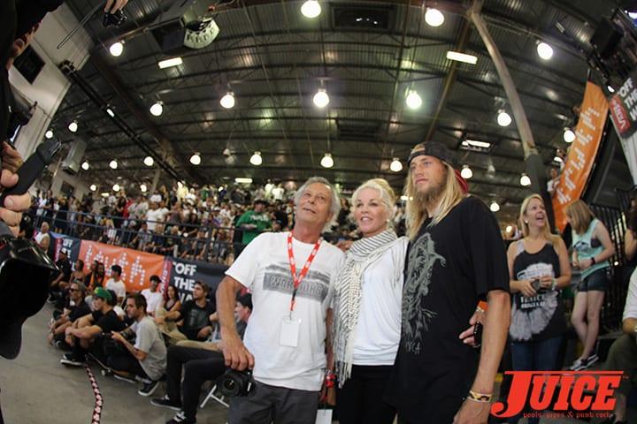 HERBIE FLETCHER, DIBI FLETCHER, GREYSON FLETCHER. VANS POOL PARTY 2014. PHOTO BY DAN LEVY