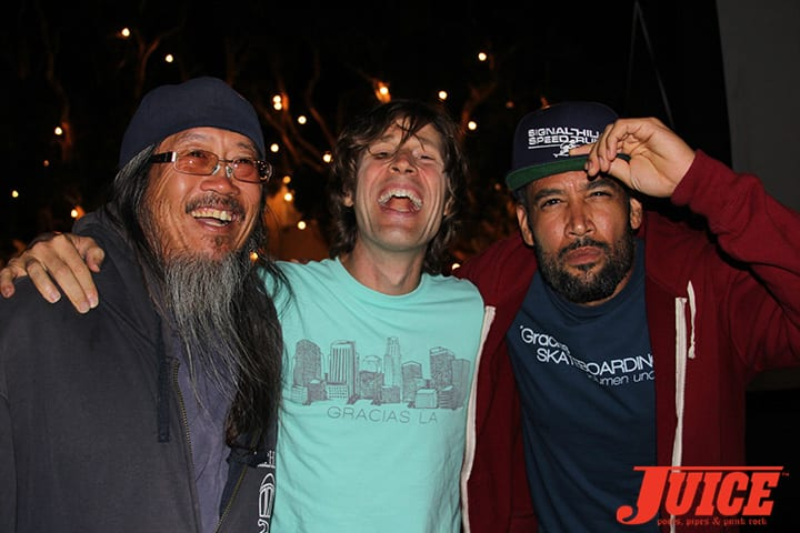 Jeff Ho, Rodney Mullen and Ben Harper. Gracias Skateboarding. Photo by Dan Levy.