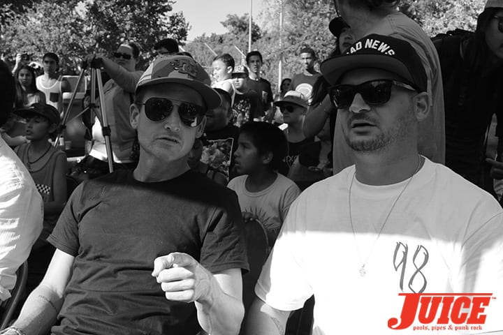Rob Dyrdek and Nick Tershay. Diamond Skatepark Opening Day 2014. Photo by Dan Levy.