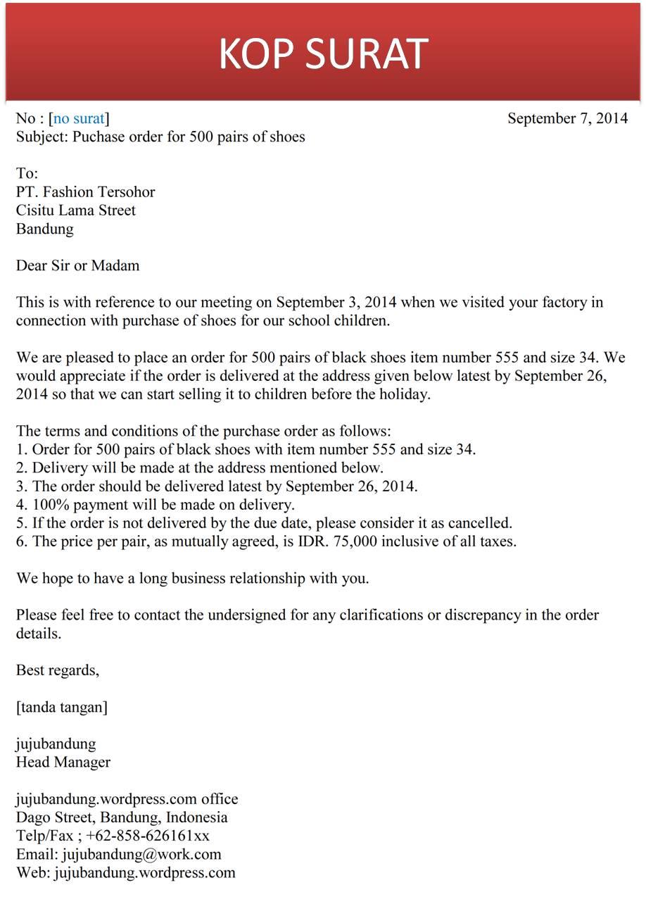 Contoh Business Letter Dalam Bahasa Inggris Sample