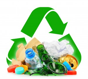 Recyclable garbage consisting of glass plastic metal and paper