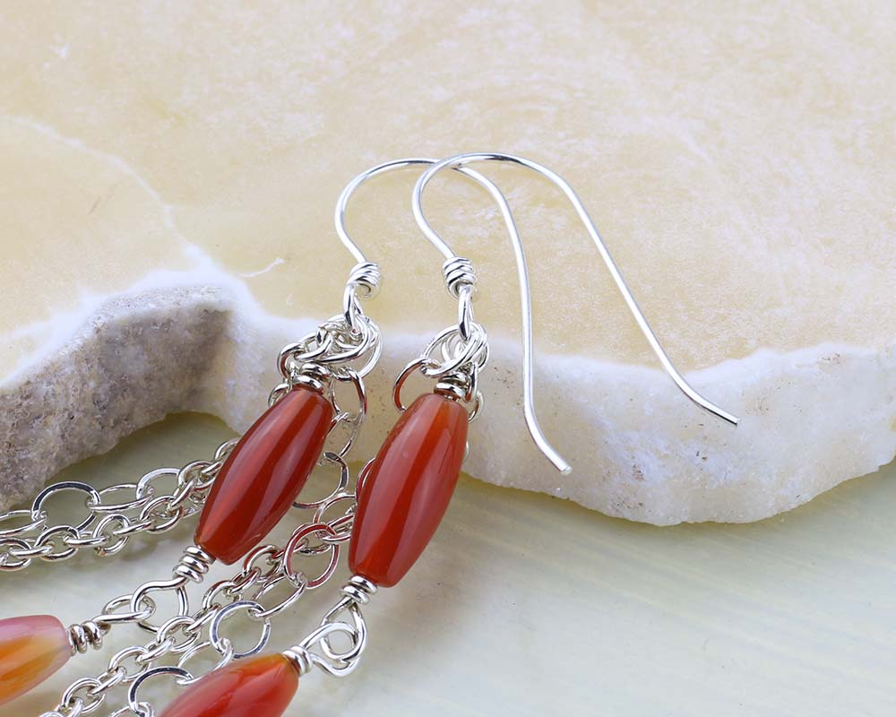 Handmade ear wires on carnelian earrings